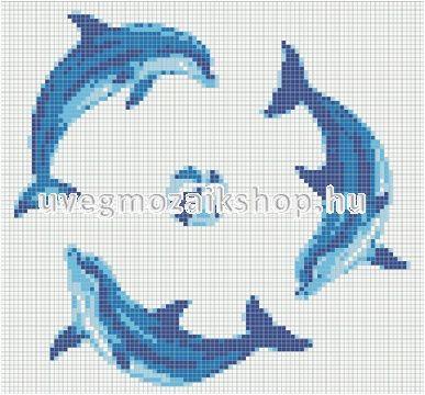Delfincsoport 214 üvegmozaik medence mozaik díszítés