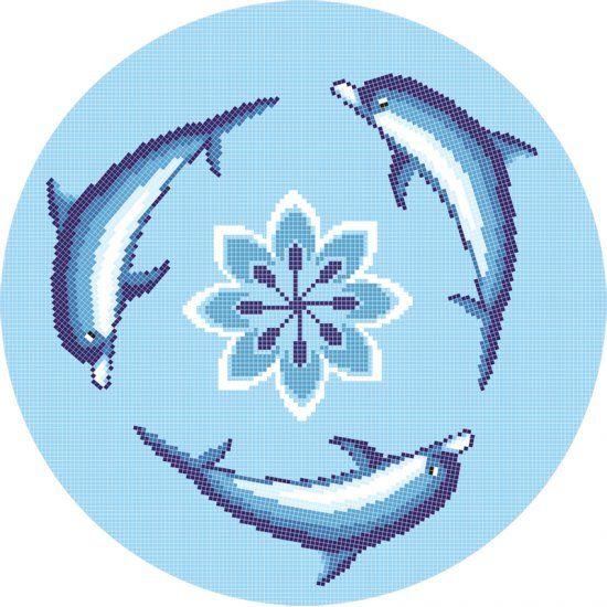Delfin üvegmozaik medence mozaik díszítés