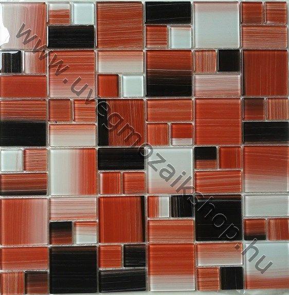 ART 01 piros kristály üvegmozaik