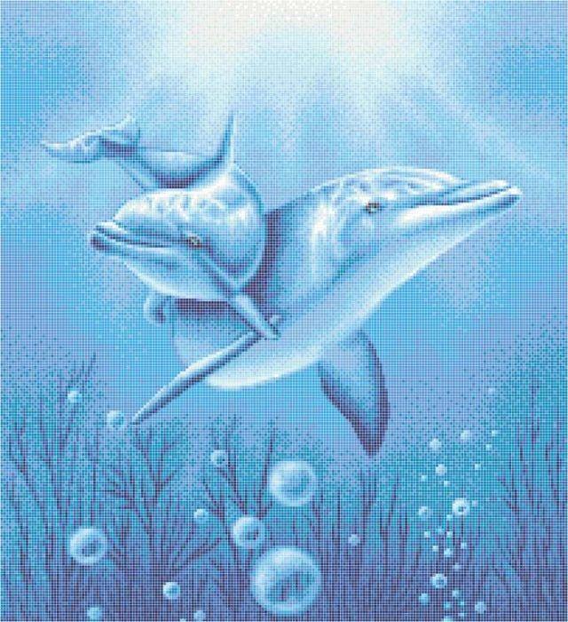 Delfin üvegmozaik kép 09